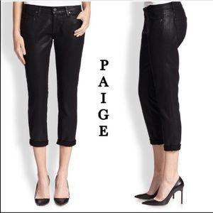 NWOT PAIGE Jimmy Jimmy Crop Black Silk Jeans Sz 26